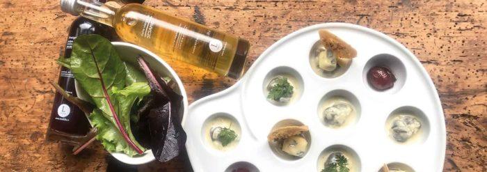 Met et vin du Bugey : recette d'escargots de l'Ain, creme de Bresse et Bleu de Gex
